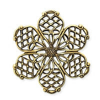 Antique Brass - Filigree - 25x27mm Sm 6 Petals