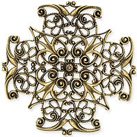 Antique Brass - Filigree - 47x47mm 4 hearts