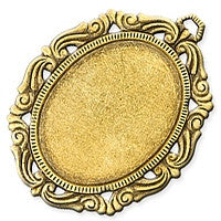 Antique Brass - Frame - 46x60mm Large Oval