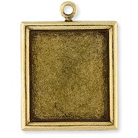 Antique Brass - Frame - 26x28mm Plain Rectangle