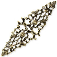 Antique Brass - Filigree - 22x64mm 2 Triangle Flowers