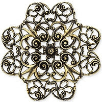 Antique Brass - Filigree - 38x40mm 4 hearts