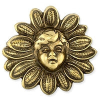 Antique Brass - No hole Charm - 25x26mm Sunflower Face