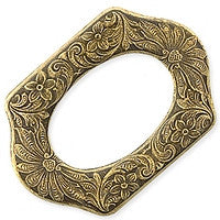 Antique Brass - Frame - 25x36mm No Hole Flowered Rectangle Oval