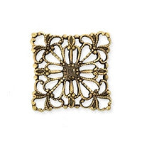 Antique Brass - Filigree - 15x15mm Square