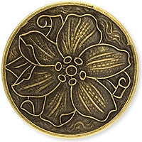 Antique Brass - No Hole Disk - 20mm Poinsettla