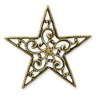 Antique Brass - Filigree - 23mm Star
