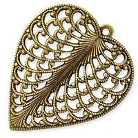 Antique Brass - Filigree - 24x28mm Heart