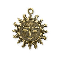 Antique Brass - Charm - 16x19mm Solid Back Sun