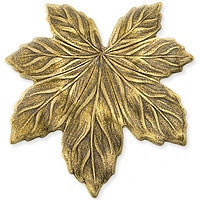Antique Brass - No hole Charm - 36x37mm Med Maple Leaf