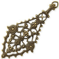 Antique Brass - Filigree - 25x55mm Elongated Diamond