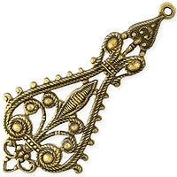 Antique Brass - Filigree - 26x56mm Large Lis Drop