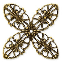 Antique Brass - Filigree - 24x24mm 4 Petals