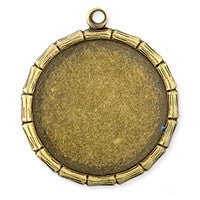 Antique Brass - Frame - 21x24mm Bamboo Circle