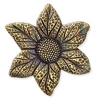 Antique Brass - No hole Charm - 25x29mm Sunflower