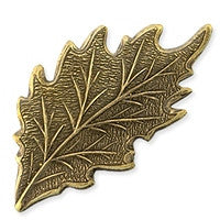 Antique Brass - No hole Charm - 19x33mm Leaf
