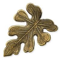Antique Brass - No hole Charm - 20x27mm Oak Leaf