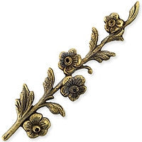 Antique Brass - Toggle - 10x38mm Flower Branch
