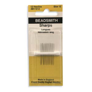 Needles - English Beading Needles - 12 needles #12 Sharps