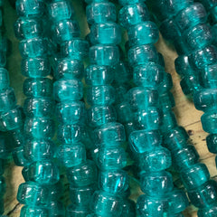 Earthy Glass Beads - 9m Pony Bead - Transparent Teal