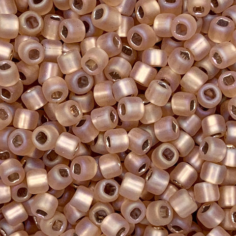 Japanese Seed Beads Size 8-F640A  Silverlined AB Matte Rosaline