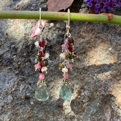 Finished Jewelry- Earrings - Tourmaline & Pearl Earrings