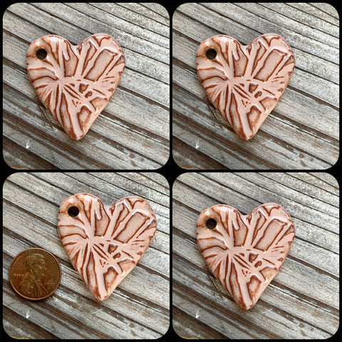 Ceramic Pendants - 37x35 Heart Bamboo - Pinky Brown