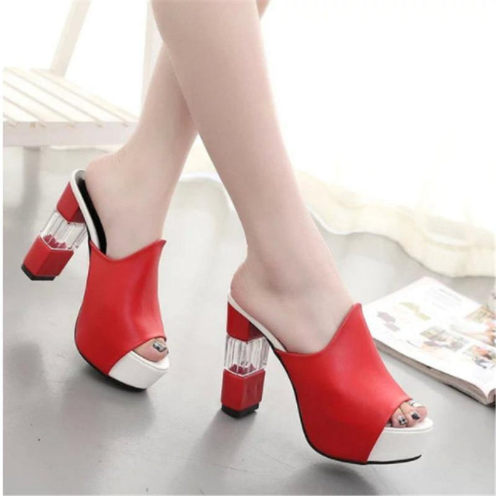 Sexy Summer Women Elegant Red High Heel Sandals Peep Toe Platform Shoes Crystal Chunky Heel Shoes Lady Thick Heel Fashion - iregalijoy.com