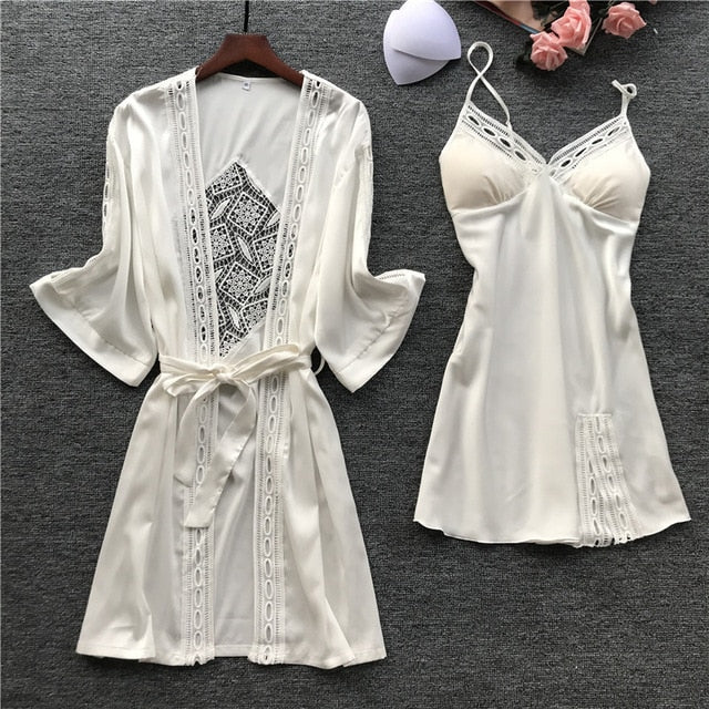 Women Robe & Gown Sets Sexy Lace Sleep Lounge Pajama Long Sleeve Ladies Nightwear Bathrobe Night Dress With Chest Pads - iregalijoy.com