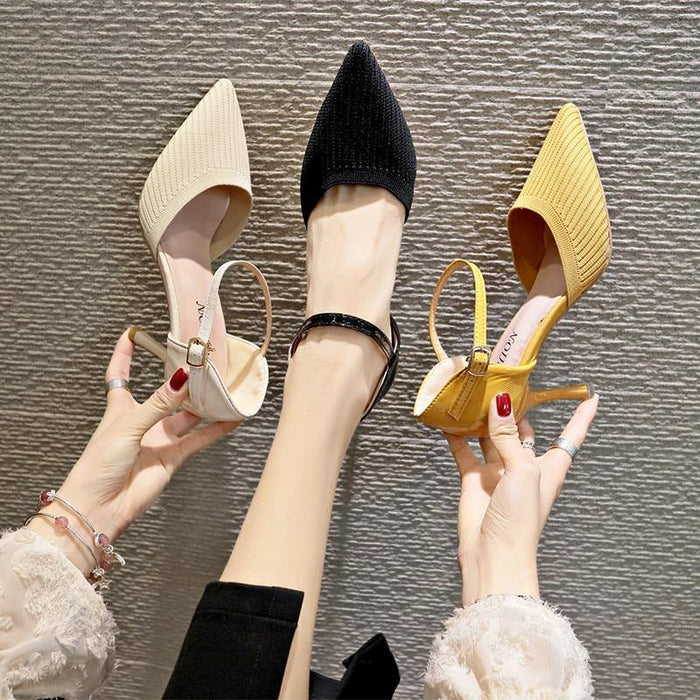 Women Sandals Thin Heels Pointed Toe Shoes Yellow Wedding Bridals Shoes Cotton Farbic 7cm High Heel Sandals - iregalijoy.com