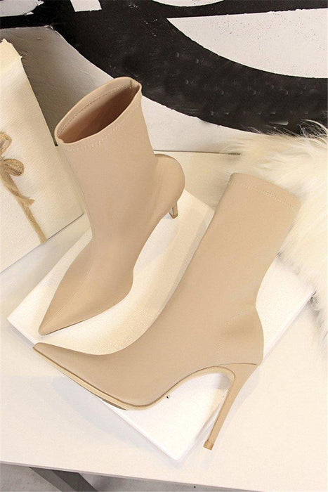 Spring Fashion Women Boots Beige Pointed Toe Elastic Ankle Boots Heels Shoes Autumn Winter Female Socks Boots - iregalijoy.com