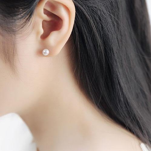 20PCS/BOX 925 Sterling Silver Freshwater Pearl Earrings 6MM Flat Shape White Black Pearl For Women Stud Earring - iregalijoy.com