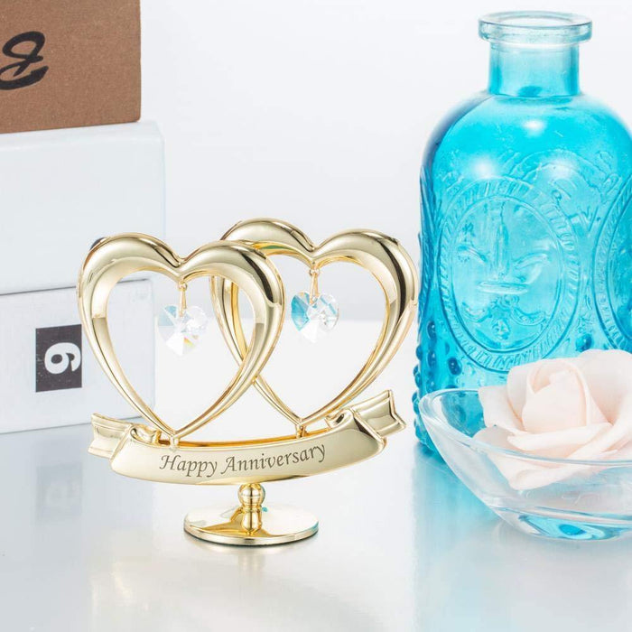 24K Gold Plated Happy Anniversary Double Heart Figurine - iregalijoy.com