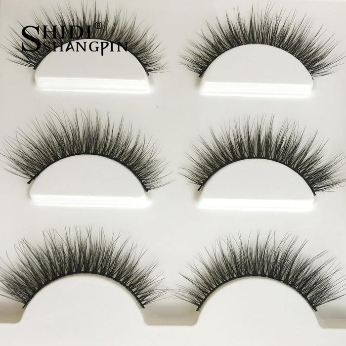 3 pairs natural false eyelashes fake lashes long makeup 3d mink lashes extension eyelash mink eyelashes - iregalijoy.com