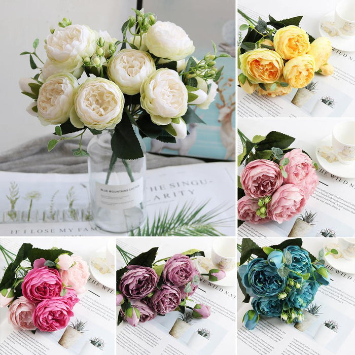 30cm Rose Pink Silk Bouquet Peony Artificial Flowers 5 Big Heads 4 Small Bud Bride Wedding Home Decoration Fake Flowers Faux - iregalijoy.com