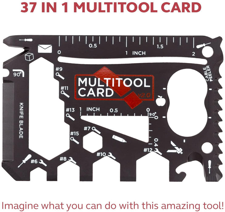37-in-1 Black Wallet Multitool Card Gift Set | Cool Gadgets for Men/Gifts for Men, Dads, Husbands, Groomsmen, Campers - iregalijoy.com