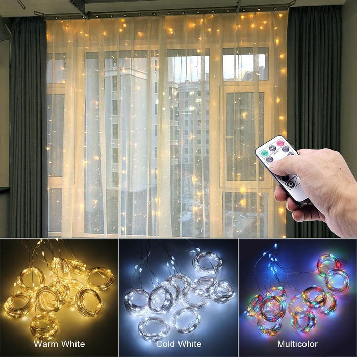 3M LED Curtain Garland on the Window USB String Lights Fairy Festoon Remote Control New Year Christmas Decorations for Home Room - iregali