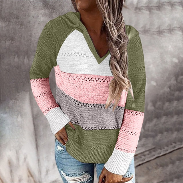 Fashion Tops Women Casual T Shirt Patchwork V-Neck T-Shirts Long Sleeves Tee Plus Size Hooded Sexy Ladies Tops - iregalijoy.com