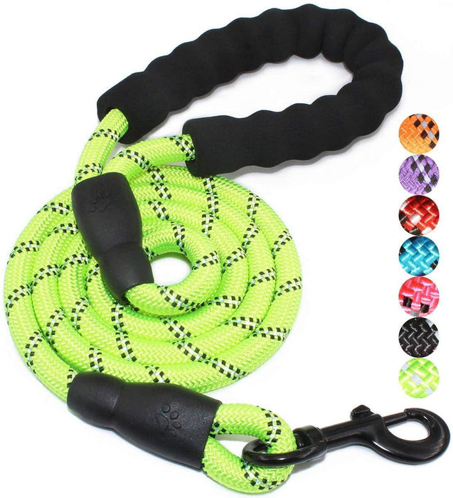 5 FT Strong Dog Leash with Comfortable Padded Handle and Highly Reflective Threads - iregalijoy.com