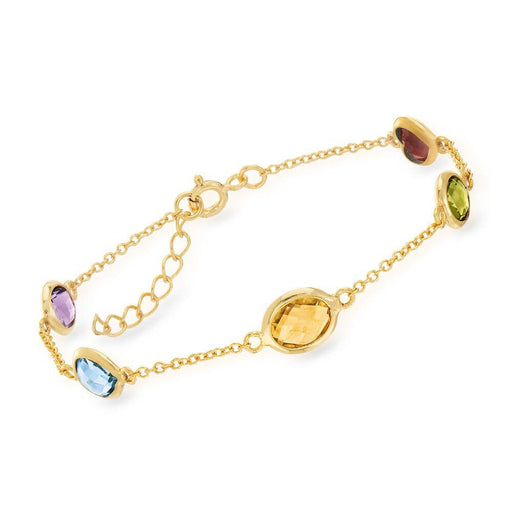 5.50 ct. t.w. Multi-Stone Station Bracelet in 18kt Gold Over Sterling - iregali
