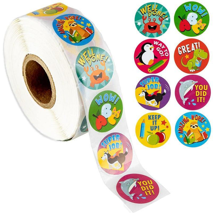 500pcs Reward Stickers Encouragement Sticker Roll for Kids Motivational Stickers with Cute Animals for Students Teachers - iregali