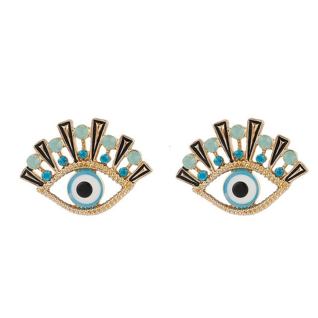New Fashion Gold Dripping Oil Evil Eye Stud Earrings For Women Vintage Crystal Statement Earring Party Jewelry Gift - iregali