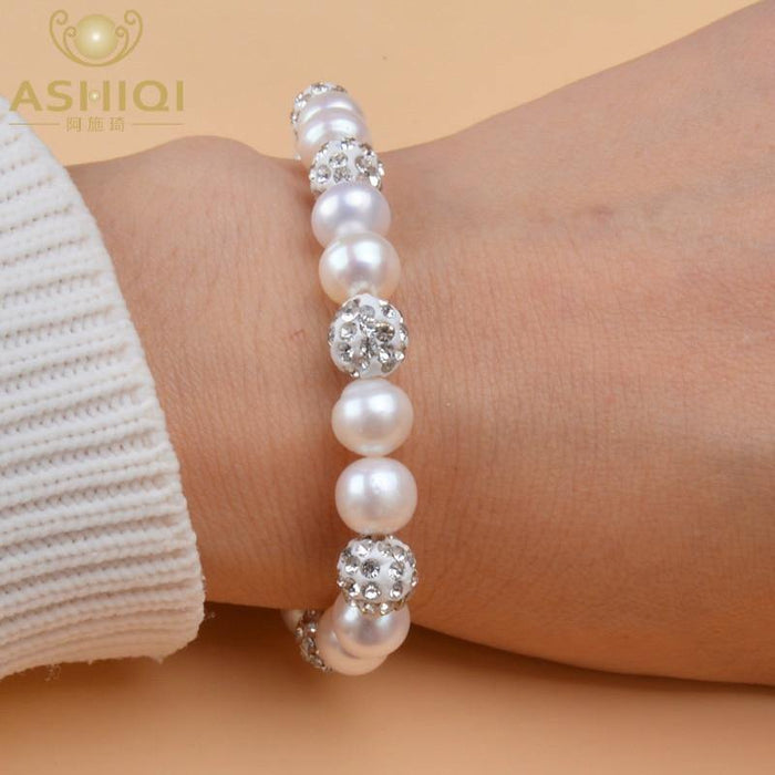 iregalijoy Genuine Natural Freshwater Pearl Bracelets Bangles For Women with White Clay Zircon Ball Elasticity Jewelry Gift - iregali