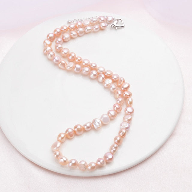 iregalijoy Real 7-8mm Freshwater Pearl Necklace for Women Classic Natural Baroque Pearl Jewelry - iregalijoy.com