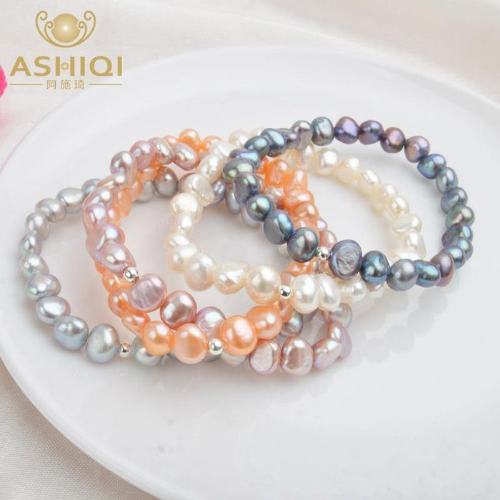 iregalijoy Real Natural Freshwater Baroque Pearl Bracelets & Bangles For Women 925 Silver Beads Jewelry Gift - iregali