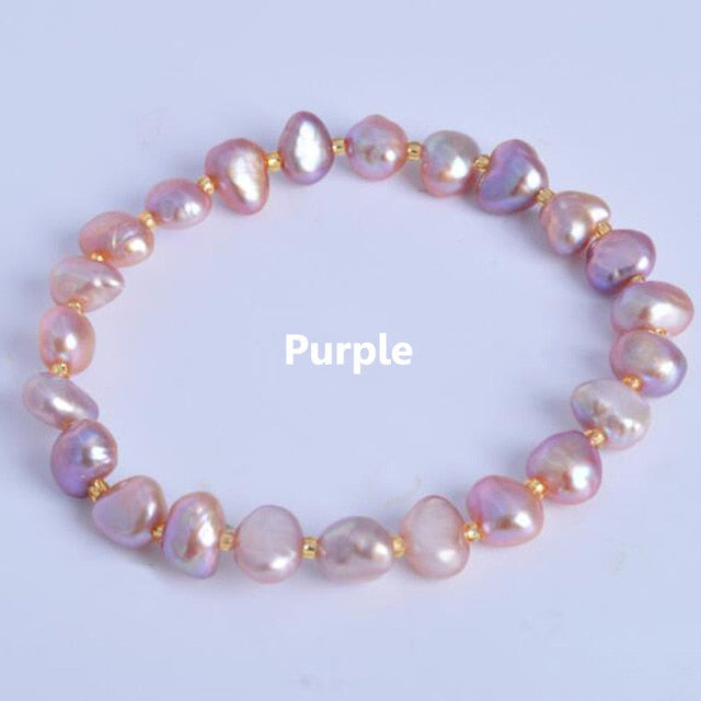 iregalijoy Real Natural Freshwater Baroque Pearl Bracelets & Bangles For Women Crystal Beads Jewelry Gift - iregalijoy.com