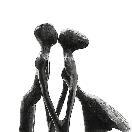 Affectionate Couple Art Iron Sculpture, Passionate Kiss & Holding Hands Statue Romantic Metal - iregalijoy.com
