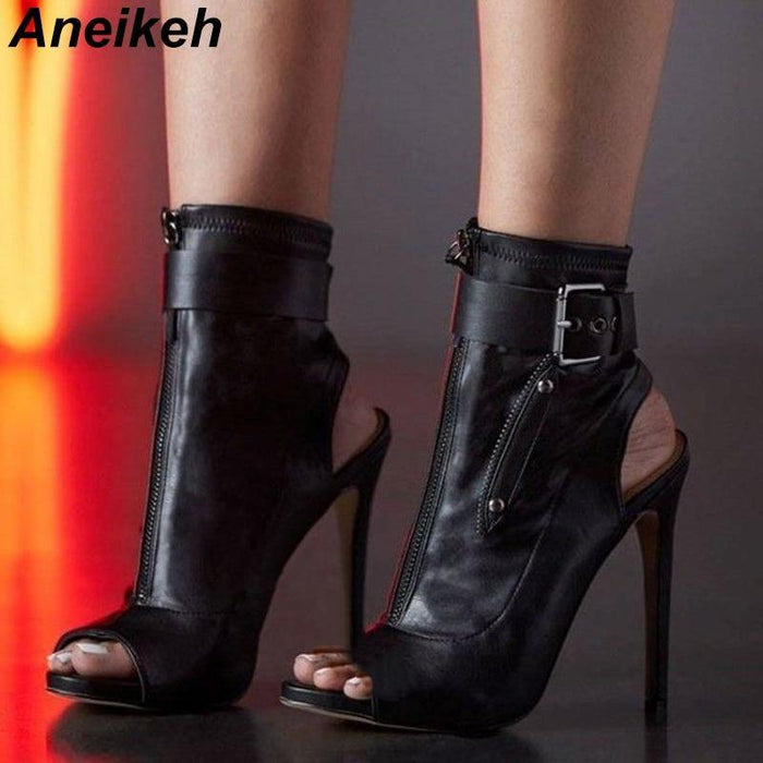 Summer Ankle Boots High Heels Women Shoes Peep Toe Sexy Lady Chelsea Boots Party Thin Heeled Shoes Size 35-40 - iregalijoy.com