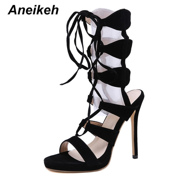 NEW Fashion Basic Boots Women High Heels Pumps Flock Sexy Hollow Out Mesh Lace-Up Cross-tied Summer Sandals Boots Shoes - iregali