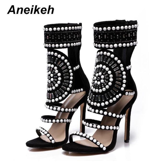 Women Fashion Open Toe Rhinestone Design High Heel Sandals Crystal Ankle Wrap Glitter Diamond Gladiator - iregalijoy.com